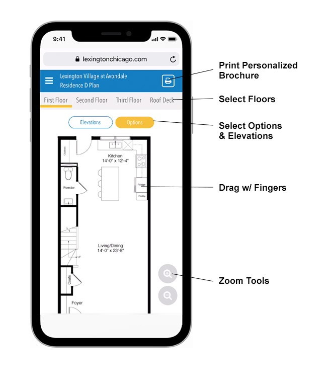 Graphic Language Interactive floorplan mobile view